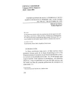 CIENCIA Y SOCIEDAD Volumen XXVI, Número 2 Abril