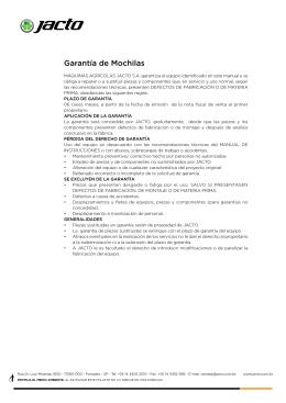 Garantía de Mochilas