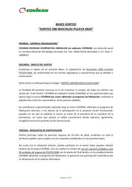 "BASES SORTEO ""SORTEO 200 MOCHILAS PULEVA MAX"""