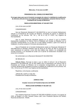 Miércoles, 31 de enero de 2007 PRESIDENCIA DEL