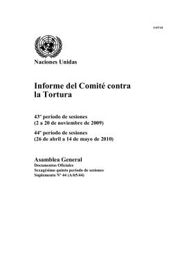 Informe del Comité contra la Tortura