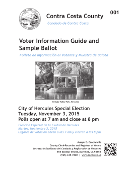 Contra Costa County Voter Information Guide and Sample Ballot
