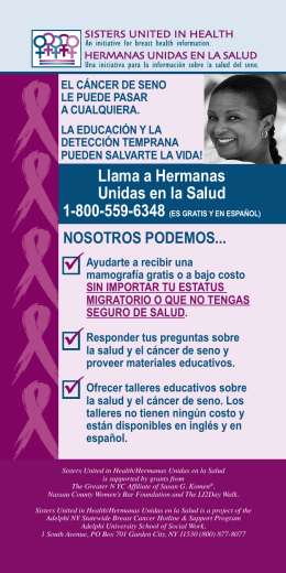 NOSOTROS PODEMOS... - Adelphi NY Statewide Breast Cancer