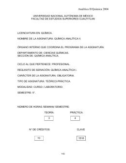 1518 química analítica ii - Facultad de Estudios Superiores Cuautitlán
