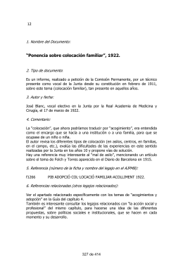 """Ponencia sobre colocación familiar"", 1922."