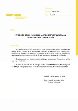 XV EDICIÓN DE LOS PREMIOS DE LA ARQUITECTURA