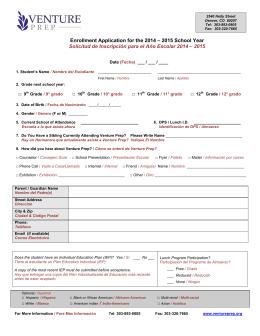 Enrollment Application for the 2014 – 2015 School Year Solicitud de