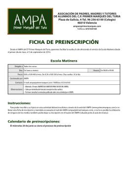 FICHA DE PREINSCRIPCIÓN - AMPA Primer Marques del Turia