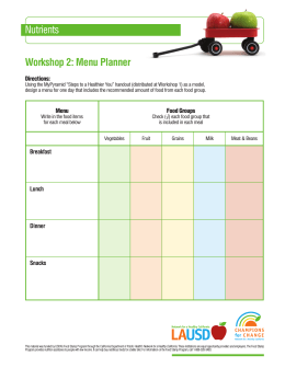 Nutrients Workshop 2: Menu Planner
