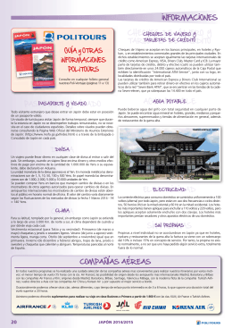 Informaciones Prácticas de Japón