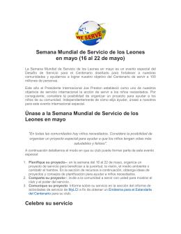 Semana Mundial de Servicio de los Leones en mayo (16 al 22 de