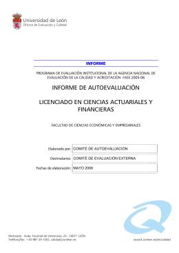 informe de autoevaluación licenciado en ciencias actuariales y