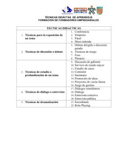 TECNICAS DIDACTICAS 1. Técnicas para la exposición