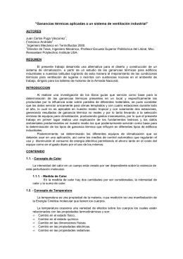 """""""Ganancias térmicas aplicadas a un sistema de ventilación industrial"""""""