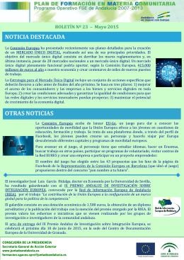 Boletín FORMAC Nº 23/2015