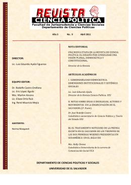 REVISTA CIENCIA POLÍTICA - Facultad de Jurisprudencia y