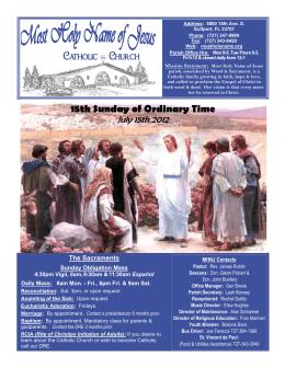 15th Sunday of Ordinary Time - Most Holy Name of Jesus Catholic
