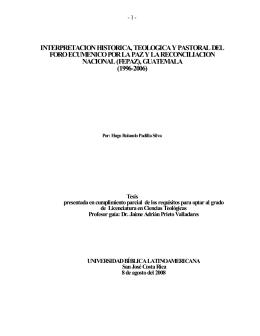 Padilla, Hugo. Interpretacion historica, teologica y pastoral del foro
