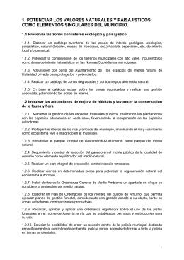 1. POTENCIAR LOS VALORES NATURALES Y PAISAJISTICOS