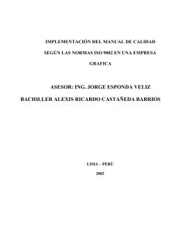ASESOR: ING. JORGE ESPONDA VELIZ BACHILLER ALEXIS