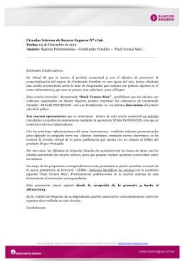 Circular Interna de Sancor Seguros Nº 1796 Fecha: 05 de