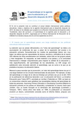 Nota de la OIE de la UNESCO sobre el aprendizaje en la agenda