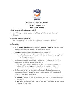 Ciencias Sociales - 5to. Grado Ficha 1 – Octubre 2014 Prof. Sonia