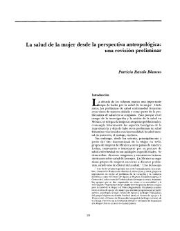 La salud de la mujer desde la perspectiva antropologica: una