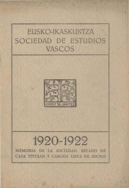Eusko Ikaskuntza Memoria 1920-1922