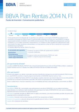 BBVA Plan Rentas 2014 N, FI