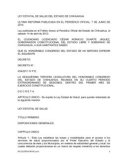 Ley Estatal de Salud del Estado de Chihuahua