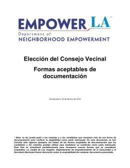 Elección del Consejo Vecinal Formas aceptables de