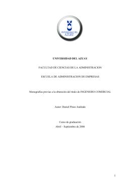 I UNIVERSIDAD DEL AZUAY FACULTAD DE CIENCIAS DE LA