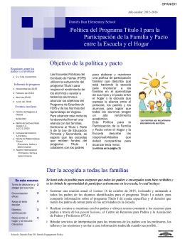 Objetivo de la política y pacto Dar la acogida a todas las familias