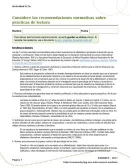 Actividad 6.7a: Considere las normas sobre prácticas de lectura