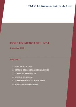 BOLETÍN MERCANTIL Nº 4 - CMS Albiñana & Suárez de Lezo