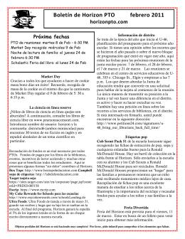 Boletín de Horizon PTO febrero 2011 horizonpto.com