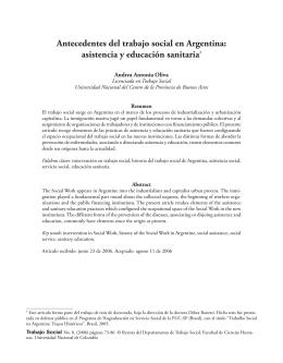 Antecedentes del trabajo social en Argentina: asistencia y