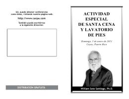 ACTIVIDAD ESPECIAL DE SANTA CENA Y LAVATORIO DE PIES