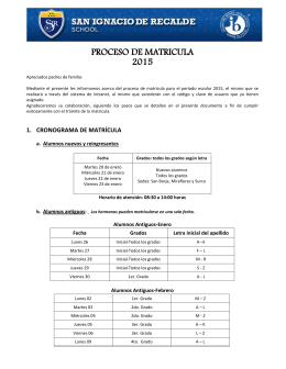 PROCESO DE MATRICULA 2015