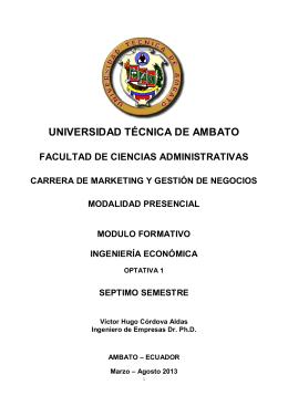 Séptimo - Ingeniería Económica - Universidad Técnica de Ambato