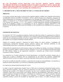 DE LOS SENADORES DANTE DELGADO, LUIS WALTON ABURTO