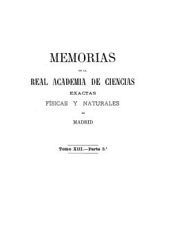 MEMORIAS - Real Academia de Ciencias Exactas, Físicas y Naturales