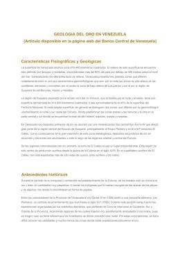 GEOLOGIA DEL ORO EN VENEZUELA (Artículo disponible en la