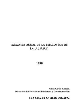 Memoria-informe de la Biblioteca Universitaria : 1998