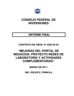 """CONSEJO FEDERAL DE INVERSIONES """"MEJORAS"""