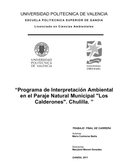 """Programa de Interpretación Ambiental en el Paraje Natural"