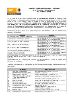 Acta de la Junta de Aclaraciones a las Bases de la