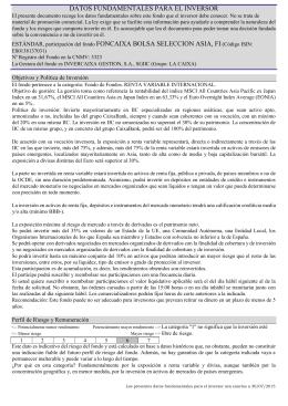 DATOS FUNDAMENTALES PARA EL INVERSOR ESTÁNDAR