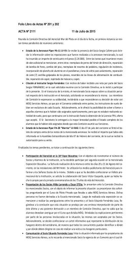 INFORMACIÓN DE COMISIÓN DIRECTIVA